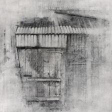 Old shed, Crown Farm. Graphite and gesso on paper, 27.5x27.5 inches.