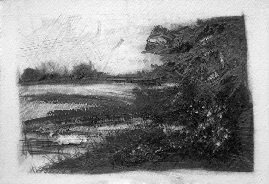 Keyingham Drain at Sands Bridge. Graphite on paper, 15x11 inches.