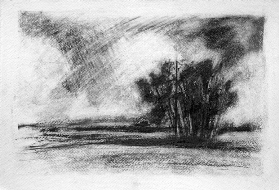 Across the fields, Marsh Lane. Graphite on paper, 22x15 inches.
