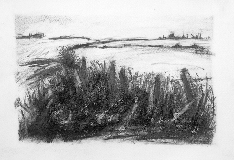 Towards the river, Auster Grange. Graphite on paper, 22x15 inches.