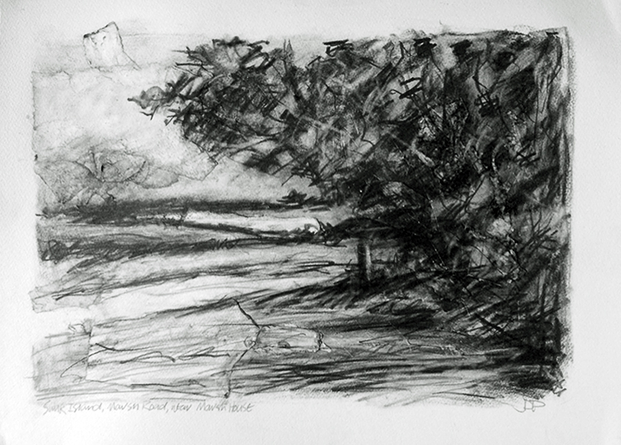Sunk Island, Marsh Road near Marsh House. Graphite on paper, 30x22 inches.