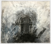 Easington, All Saints. A now unused and rotting doorway in the north aisle. Graphite and gesso on paper, 60x51 inches.