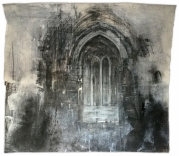 Ottringham, Saint Wilfrid's. The 'priests' door' in the south wall of the chancel. Graphite and gesso on paper, 57x51 inches.