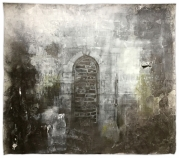 Keyingham, Saint Nicholas. Bricked up opening in a dark, damp corner of the north wall of the tower. Graphite and gesso on paper, 57.5x51 inches.