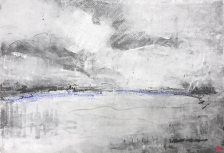 Riverbank at Little Humber Farm. Graphite, gesso and oil bar on paper, 22x15 inches.