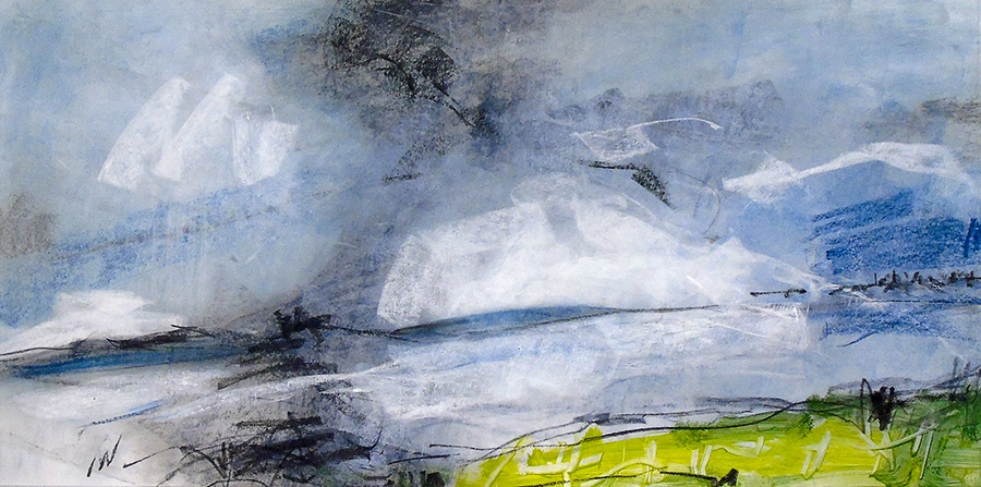 Riverbank at Yokefleet. Charcoal, graphite and oil on paper, 12x24 inches.
