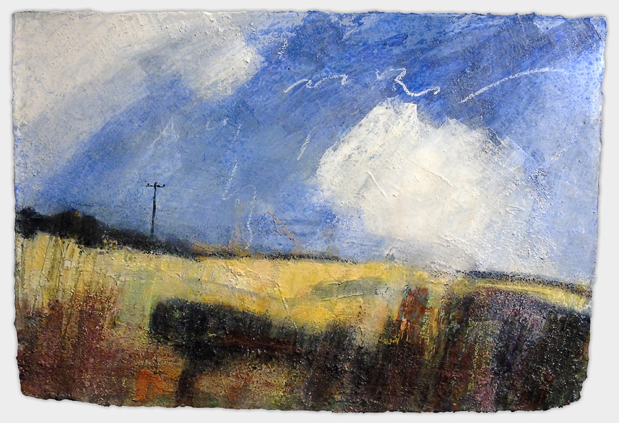 Towards Patrington Haven. Acrylic and oil pastel on paper, 22x15 inches.