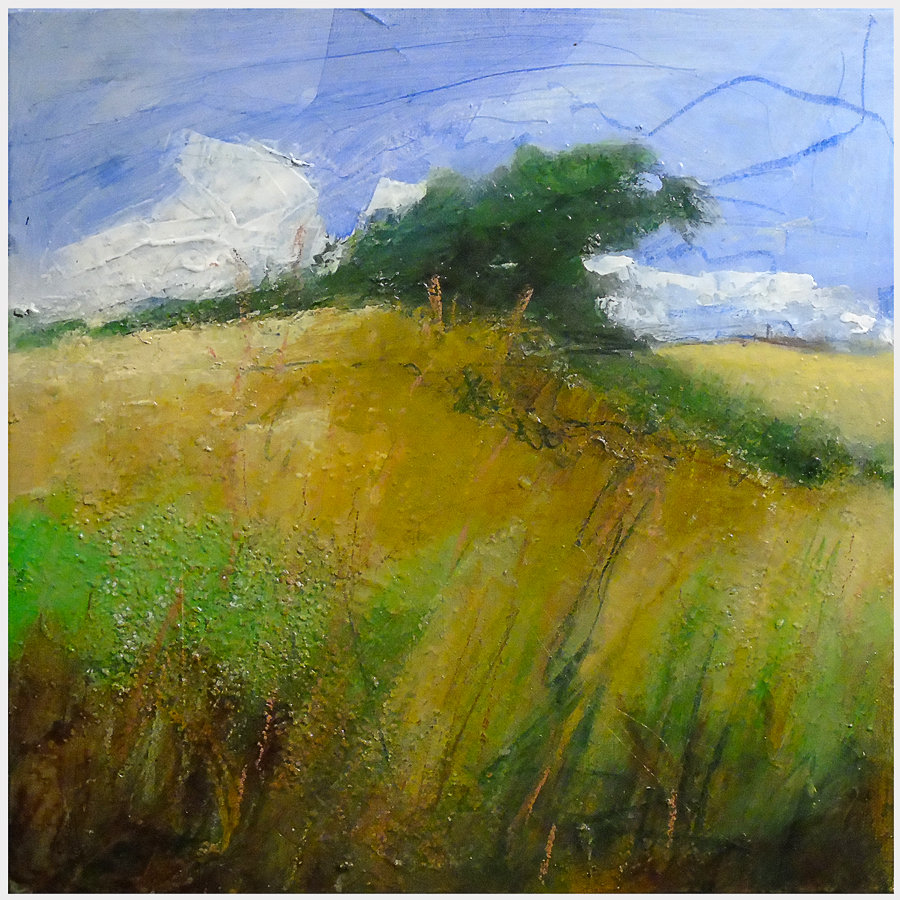 Wind-blown hawthorn near Tunstall. Acrylic and mixed media on canvas, 15x15 inches.